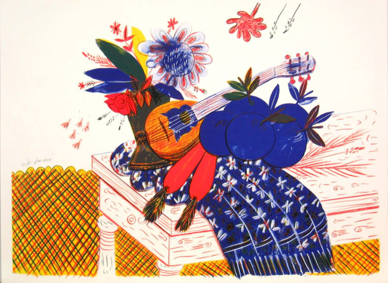 Still Life (Flowers, Carrots, Scarf, and Mandolin) Limited Edition Print by Alexandre Fassianos