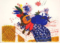 Still Life (Flowers, Carrots, Scarf, and Mandolin) Limited Edition Print by Alexandre Fassianos - 1