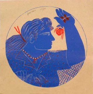 Woman and Rose (femme Et Rose) 1999 Limited Edition Print by Alexandre Fassianos