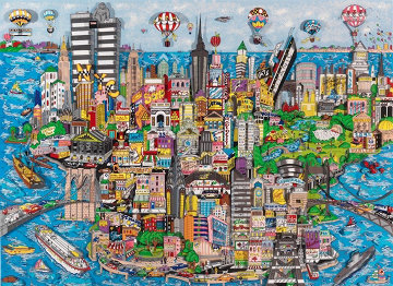 World Loves N.Y.C. Mural Edition 3-D 91x29 in Super Huge Limited Edition Print - Charles Fazzino