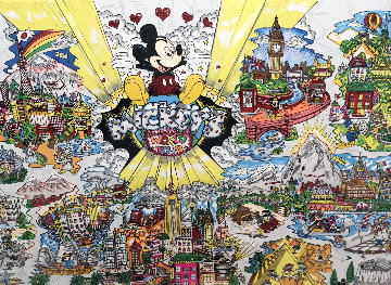 Mickey's World Tour 3-D 1996 Limited Edition Print by Charles Fazzino