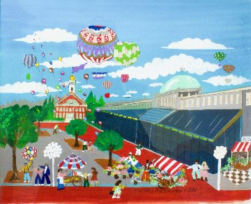 Quincy Market 1981 29x26 Original Painting by Charles Fazzino