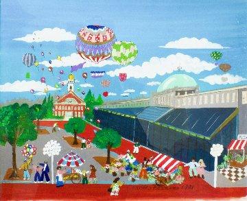 Quincy Market 1981 29x26 Original Painting - Charles Fazzino