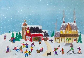 Winter Scene 1982 27x33 Original Painting by Charles Fazzino
