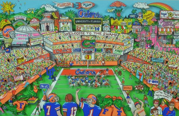 Go Go Gators 3-D, Triple Signed Limited Edition Print - Charles Fazzino