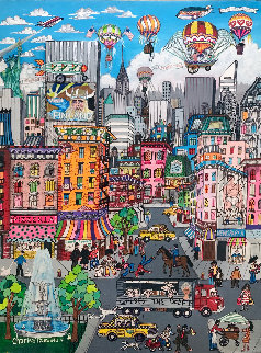 Untitled Painting 3-D 1982 40x29 Super Huge Original Painting - Charles Fazzino