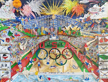 Spirit of the US Olympic Team,  Sidney Olympics 3-D 2000  Limited Edition Print - Charles Fazzino