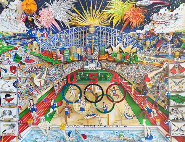 Spirit of the US Olympic Team,  Sidney Olympics 3-D 2000  Limited Edition Print by Charles Fazzino