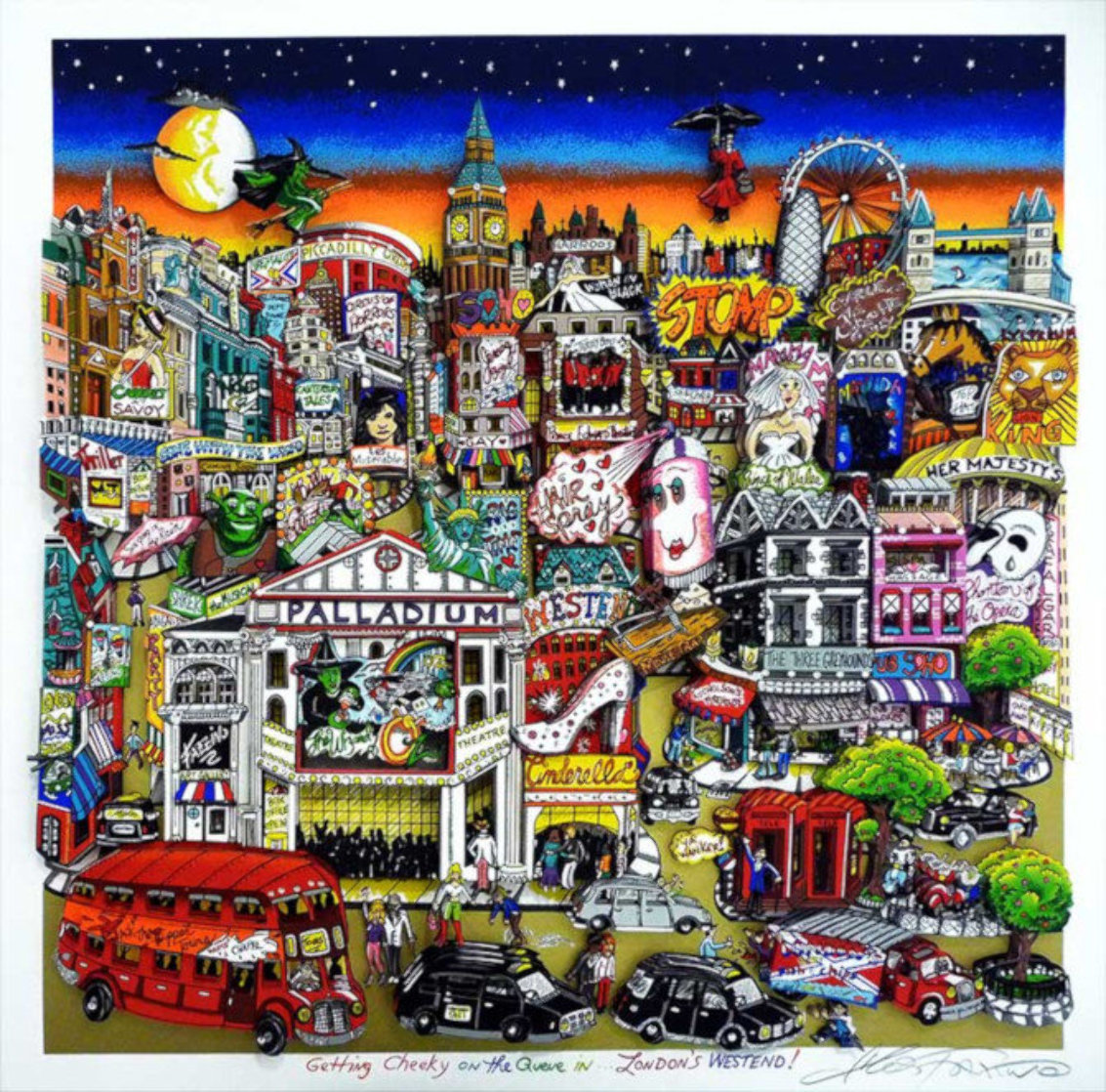 Getting Cheekie on the Queue in London's West End 2014 3-D Limited Edition Print by Charles Fazzino