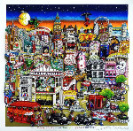 Getting Cheekie on the Queue in London's West End 2014 3-D Limited Edition Print - Charles Fazzino