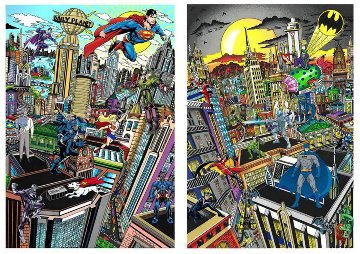 Superhero Suite Superman Saves the Day & Batman Rules the Night Set 2016 3-D Limited Edition Print by Charles Fazzino