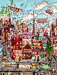 Beautiful Day in NYC 1986 54x43 Original Painting - Charles Fazzino