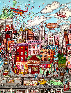 Beautiful Day in NYC 1986 54x43 Original Painting by Charles Fazzino
