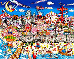 Betty's Booping, Popeye's Swooning on Coney Island Beach 3-D 1995 Limited Edition Print - Charles Fazzino