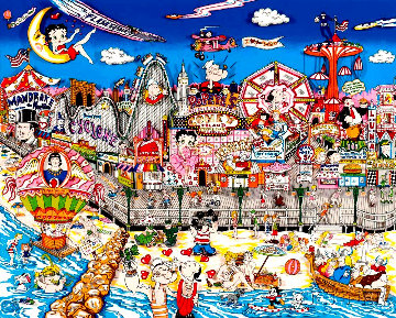Betty\'s Booping, Popeye\'s Swooning on Coney Island Beach 3-D 1995 Limited Edition Print - Charles Fazzino