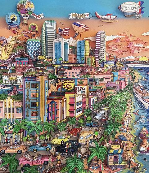 Bienvenidos a Miami 2002 Limited Edition Print by Charles Fazzino