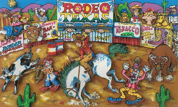 Rodeo Round Up 3-D Limited Edition Print by Charles Fazzino