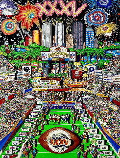 Super Bowl: Celebrating 35 Years 2001 3-D Limited Edition Print - Charles Fazzino