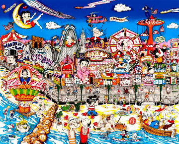 Betty's Booping, Popeye's Swooning on Coney Island Beach 1995 3-D Limited Edition Print by Charles Fazzino