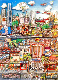 Miami Heat 3-D, 22x35 Drawing on Verso Limited Edition Print - Charles Fazzino