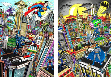 Batman Rules the Night, and Superman Saves the Day, Set of 2 Prints 2016 3-D w Crystals Limited Edition Print - Charles Fazzino