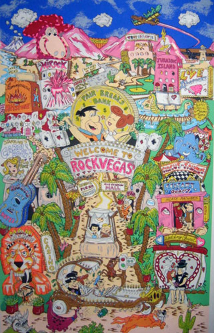 Flintstones Break Rock Vegas 3-D  AP 1996 Limited Edition Print by Charles Fazzino