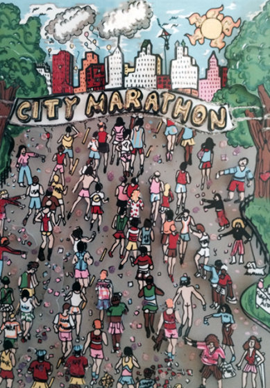 Cool Down 3-D 1990 (New York Marathon) Limited Edition Print by Charles Fazzino