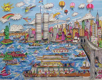 Gateway to New York 3-D (Twin Towers) Limited Edition Print by Charles Fazzino
