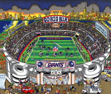 Go Big Blue! 3-D New York Giants Limited Edition Print - Charles Fazzino