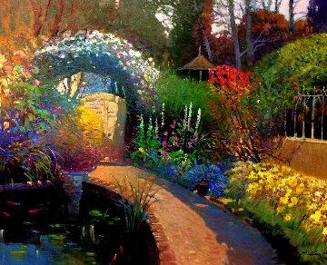 Koi Pond 2002 31x37 Original Painting - Ming Feng