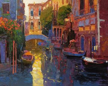 Sunlit Canal 30x36 Original Painting - Ming Feng