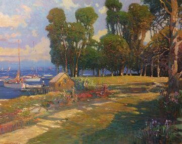 Dockside Grove 30x36 Original Painting - Ming Feng
