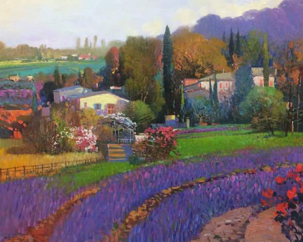 Lavender Fields 30x36 Original Painting by Ming Feng
