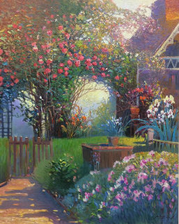 Rose Garden 36x30 Original Painting by Ming Feng