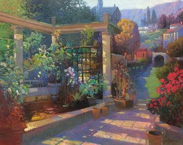 Koi Pond Trellis 30x36 Original Painting - Ming Feng