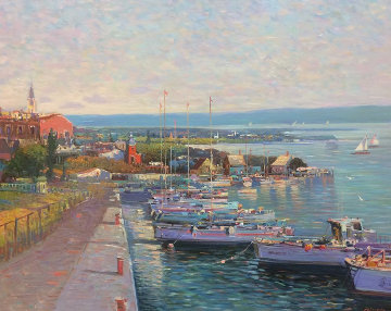 Twilight Quay 30x36 Original Painting - Ming Feng