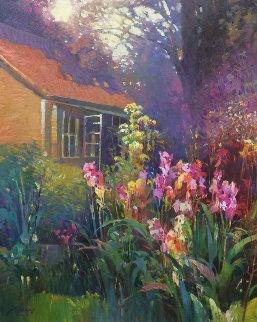 Iris Garden 36x30 Original Painting - Ming Feng