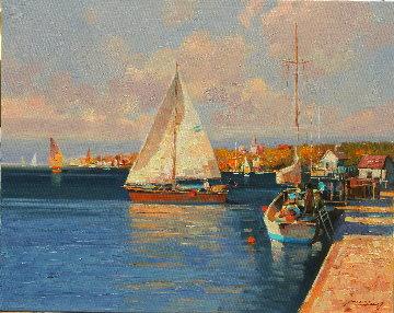 Sailing in Summer Original 2020 21x25 Original Painting - Ming Feng