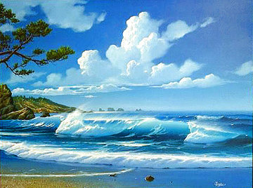 Olympic Peninsula 1989 29x34 Original Painting - Gary  Fenske
