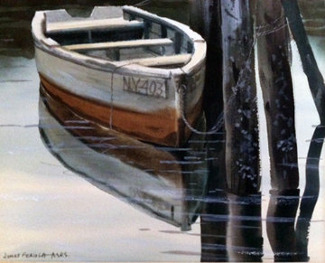 NY403, Rowboat Watercolor 11x14 Watercolor - James Feriola