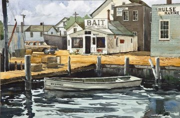 Rowboat at the Dock Watercolor 1980 30x40 Watercolor - James Feriola