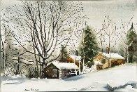 Farm in Winter Snow Watercolor 1980 26x32 Watercolor by James Feriola - 1