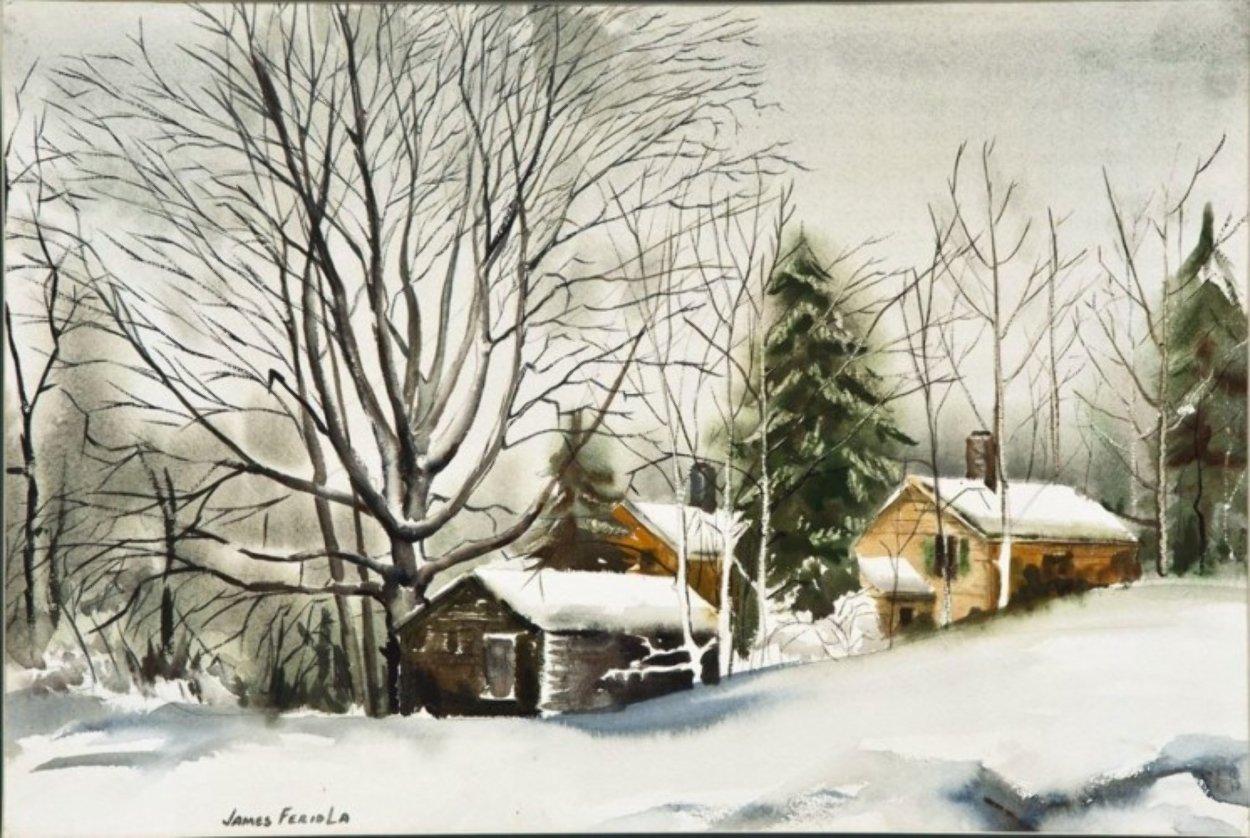 Farm in Winter Snow Watercolor 1980 26x32 Watercolor by James Feriola