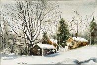 Farm in Winter Snow Watercolor 1980 26x32 Watercolor by James Feriola - 0