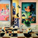 Homage to Mickey Mouse 2009 40x40 Original Painting - (Fernando de Jesus Oliviera) Ferjo