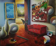 Untitled Interior Painting 22x26 Original Painting by (Fernando de Jesus Oliviera) Ferjo - 2