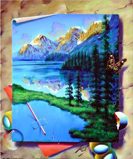 Mountain Reflection 2018 24x20 Original Painting by (Fernando de Jesus Oliviera) Ferjo