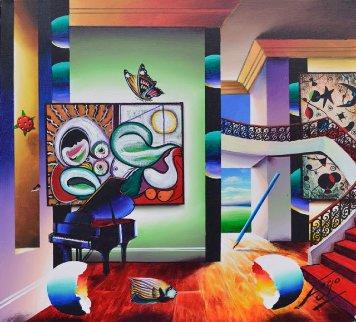 Music Wakes Up Sleeping Nude 2018 24x24 Original Painting by (Fernando de Jesus Oliviera) Ferjo