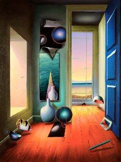 Blue Door 1996 48x36  (Early) Huge Original Painting - (Fernando de Jesus Oliviera) Ferjo