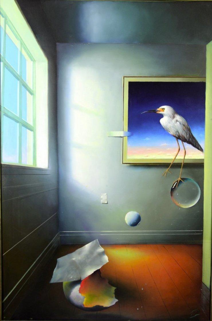 Room With a Bird 1996 59x39 Super Huge Original Painting by (Fernando de Jesus Oliviera) Ferjo